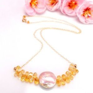 Gold citrine mother of pearl gemstone necklace